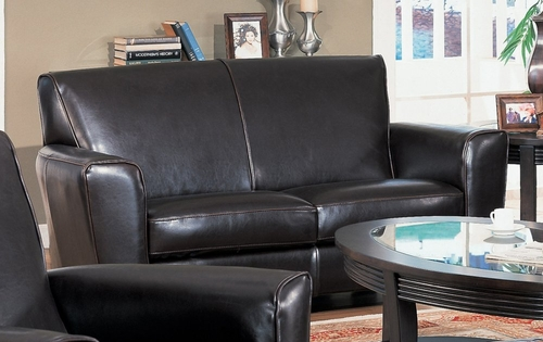 Loveseat in Dark Brown Leather - Coaster