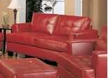 Loveseat in Red Leather - Coaster