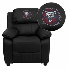 Loyola Marymount University Lions Embroidered Black Leather Kids Recliner - BT-7985-KID-BK-LEA-41050-EMB-GG