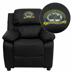 LSU Alexandria Generals Embroidered Black Leather Kids Recliner - BT-7985-KID-BK-LEA-41049-EMB-GG