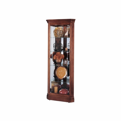 Lynwood Corner Curio Cabinet in Windsor Cherry - Howard Miller