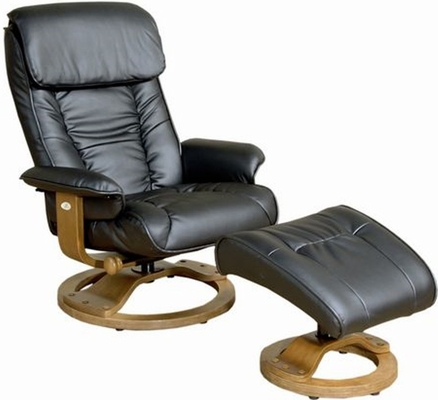 Mac Motion Black Leather Swivel Recliner with Ottoman - Mac Motion Chairs - 819-71-102