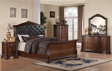 Maddison 5PC Bedroom Set in Brown Cherry - 202261X