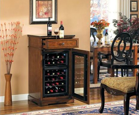 Madison Wine Cabinet in Rose Cherry - Classic Flame - DC997C240-2424