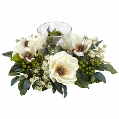 Magnolia Candelabrum Silk Flower Arrangement - Nearly Natural - 4794