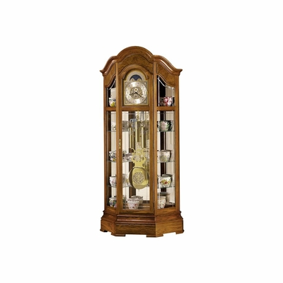 Majestic Curio Floor Clock in Oak Yorkshire - Howard Miller