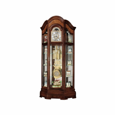 Majestic II Curio Floor Clock in Windsor Cherry - Howard Miller