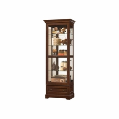 Manford Curio Cabinet in Cherry Bordeaux - Howard Miller