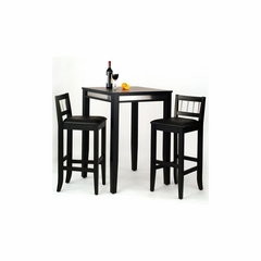 Manhattan Black Pub Table with Two Stools - Home Styles - HS-5123-358