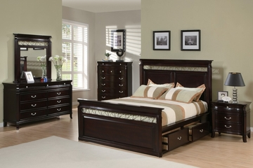 Manhattan California King Size Bedroom Furniture Set in Deep Rich Espresso - Coaster - 201311KW-BSET