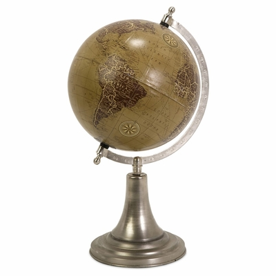 Marco Globe With Nickel Finish Base - IMAX - 73024