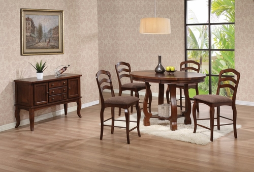 Marcus 6-Piece Counter Height Table Set in Medium Brown Oak - Coaster - 102148-9-DSET