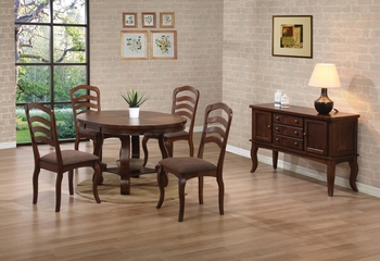 Marcus 6-Piece Dining Room Furniture Set in Medium Brown Oak - Coaster - 102141-5-DSET