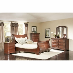 Marseille Sleigh Bedroom Set 5 Piece Black Cherry - Largo - LARGO-WG-B8610-SLEIGH-SET