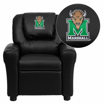 Marshall University Thundering Herd  Black Vinyl Kids Recliner - DG-ULT-KID-BK-40016-EMB-GG