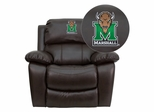 Marshall University Thundering Herd Leather Rocker Recliner - MEN-DA3439-91-BRN-40016-EMB-GG