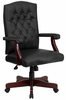 Martha Washington Black Leather Executive Swivel Chair - 801L-LF0005-BK-LEA-GG