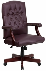 Martha Washington Burgundy Leather Executive Swivel Chair - 801L-LF0019-BY-LEA-GG