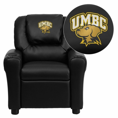 Maryland, Baltimore County Retrievers Embroidered Black Vinyl Kids Recliner - DG-ULT-KID-BK-41084-EMB-GG