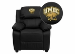 Maryland, Baltimore County Retrievers Embroidered Leather Kids Recliner - BT-7985-KID-BK-LEA-41084-EMB-GG