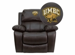 Maryland Baltimore County Retrievers Leather Rocker Recliner - MEN-DA3439-91-BRN-41084-EMB-GG
