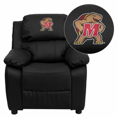 Maryland Terrapins Embroidered Black Leather Kids Recliner - BT-7985-KID-BK-LEA-40029-EMB-GG