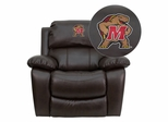 Maryland Terrapins Embroidered Brown Leather Rocker Recliner - MEN-DA3439-91-BRN-40029-EMB-GG