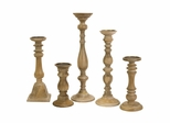 Mason Natural Wash Wood Candleholders (Set of 5) - IMAX - 5530-5