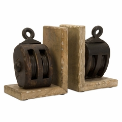 Mason Wood Pulley Bookends - IMAX - 73015