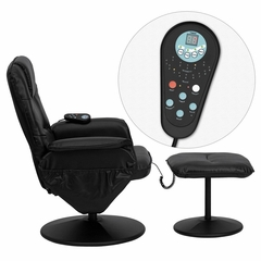 Massaging Black Leather Recliner and Ottoman with Leather Wrapped Base - BT-753P-MASSAGE-BK-GG
