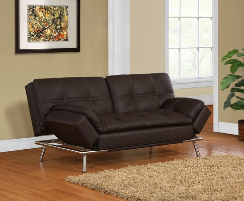 Matrix Double Cushion Faux Leather Convertible Sofa - Lifestyle Solutions - BA-MDM-FA-DB