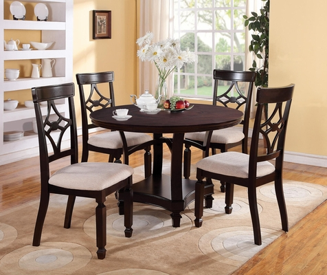 Maude 5PC Round Dining Table Set in Cappuccino - 103630