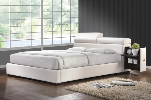 Maxine Leather California King Bed in White - 300379KW