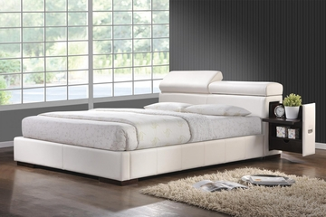 Maxine Leather Queen Bed in White - 300379Q