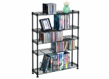 Maxsteel 5 Tier Multimedia Rack For 275 CDs or 152 DVDs and Blu-Ray in Black - Atlantic - 3010