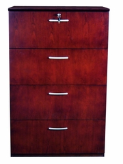 Mayline 4-Drawer Lateral Filing Cabinet in Mahogany - VLF4MAH
