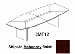 Mayline Corsica 12 Feet Boat-shaped Conference Table in Mahogany - CMT12MAH