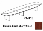 Mayline Corsica 18 Feet Boat-shaped Conference Table in Sierra Cherry - CMT18CRY