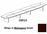 Mayline Corsica 24 Feet Boat-shaped Conference Table in Mahogany - CMT24MAH