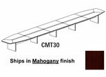 Mayline Corsica 30 Feet Boat-shaped Conference Table in Mahogany - CMT30MAH