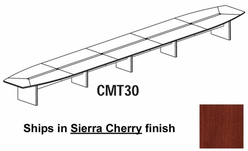 Mayline Corsica 30 Feet Boat-shaped Conference Table in Sierra Cherry - CMT30CRY