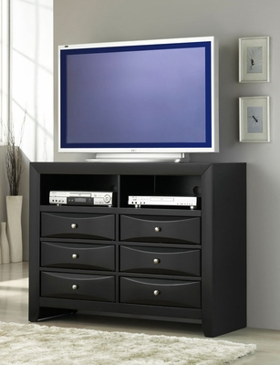 Media Chest - Briana Media Chest in Glossy Black - Coaster - 200706