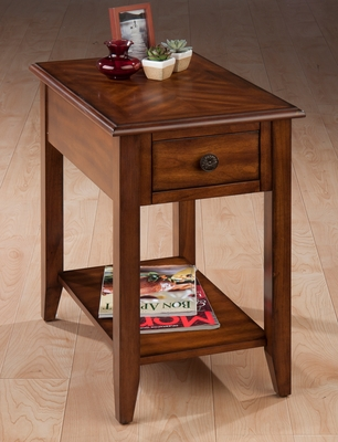 Medium Brown Rectangular Chairside Table - 1031-7