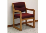Medium Oak Sled Base Reception Chair - Wooden Mallet Office Furniture - DW1-1MO