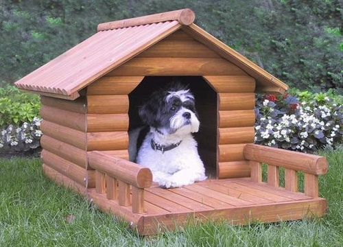 Medium Size Log Home Cedar Brown Pet House with Front Porch - Merry Products - EM001-HP