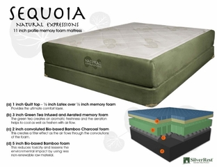"Memory Foam Mattress - 11"" Sequoia Queen Size Mattress - SilverRest - SRMSEQMEM-50"