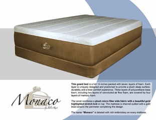"Memory Foam Mattress - 14"" Monaco ""Luxury Grand"" Eastern King Size Mattress - SilverRest - SRMMONMEM-70"