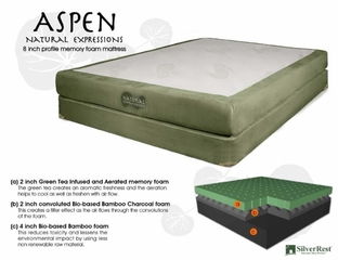 "Memory Foam Mattress - 8"" Aspen California King Size Mattress - SilverRest - SRMASPMEM-60"