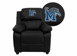 Memphis Tigers Embroidered Black Leather Kids Recliner - BT-7985-KID-BK-LEA-40003-EMB-GG