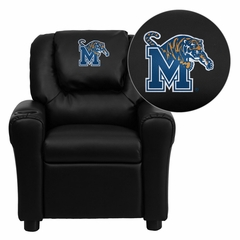 Memphis Tigers Embroidered Black Vinyl Kids Recliner - DG-ULT-KID-BK-40003-EMB-GG